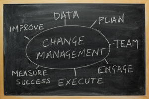 change management spider: data, plan, team, engage, execute, measure success and improve