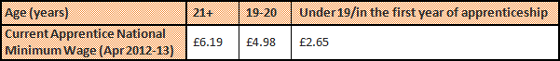 Apprentice National Minimum Wage 2012-13: 21years old and upwards £6.19, 19-20 years old £4.98 and under 19 or in the first year of apprenticeship £2.65